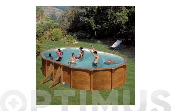Piscina acero ovalada filtro arena 500x300x120 cm madera