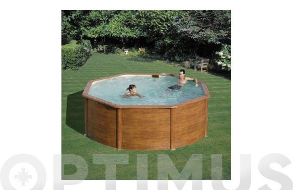 Piscina acero redonda filtro arena ø 350x120 cm madera