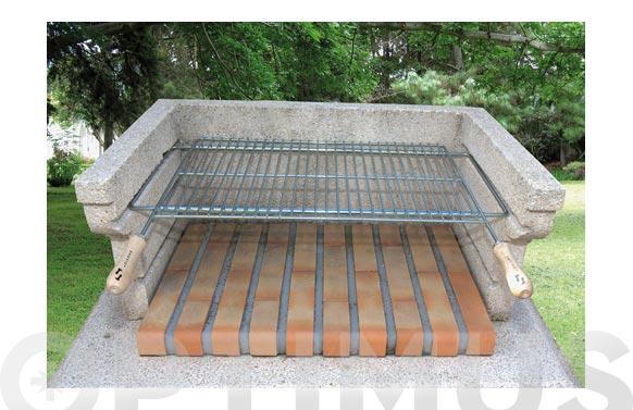 Parrilla barbacoa extensible zinc 70/80 x 40 cm