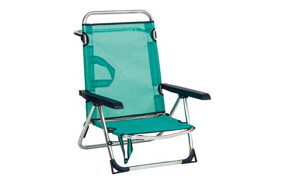 Silla cama aluminio playa fibreline azul