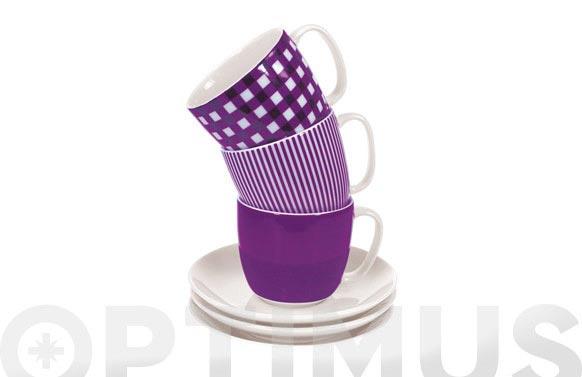 Taza te con plato rayas lila