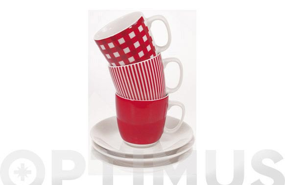 Taza te con plato rayas rojas