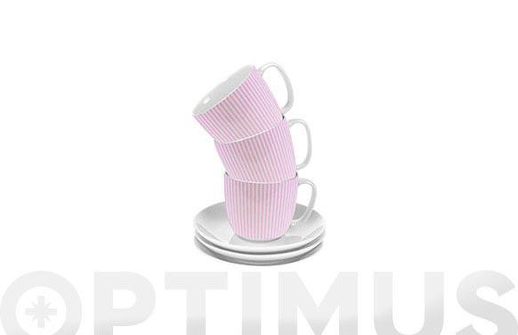 Taza te con plato rayas rosas