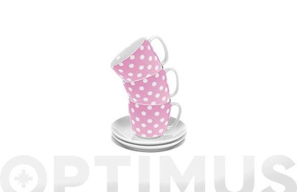 Taza te con plato topos rosa