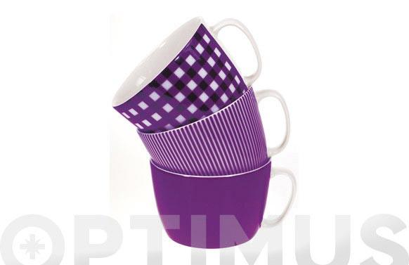 Taza desayuno 300 ml rayas lila