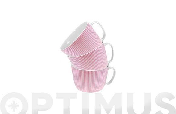 Taza desayuno 300 ml rayas rosas