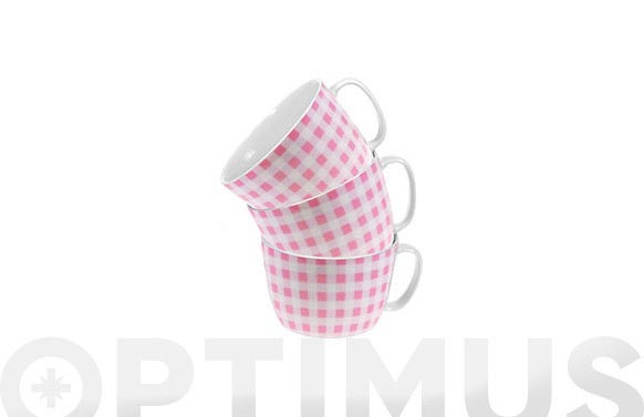 Taza desayuno 300 ml cuadros rosas