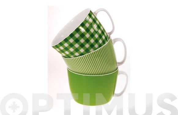 Taza desayuno 300 ml cuadros verdes