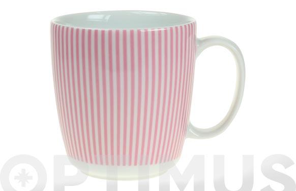 Mug porcelana ambit rayas rosas