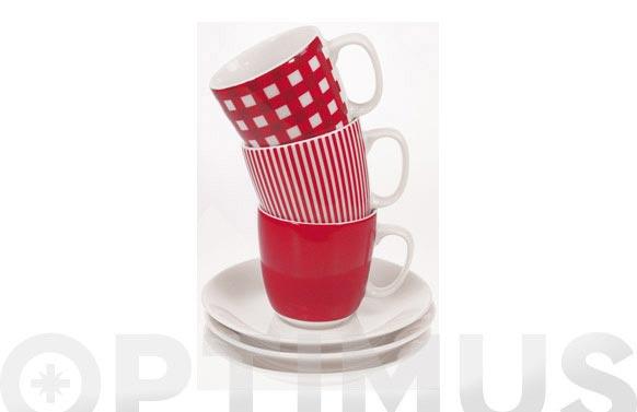 Taza cafe con plato cuadros rojos