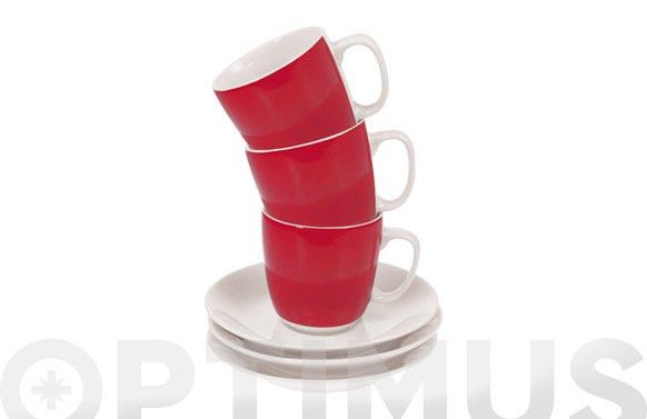 Taza cafe con plato banda roja