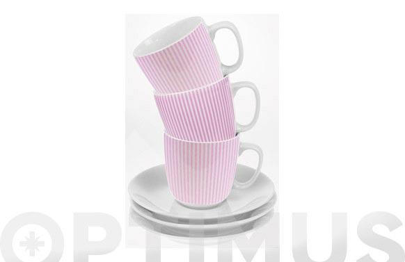 Taza cafe con plato rayas rosas