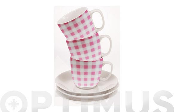 Taza cafe con plato cuadros rosa