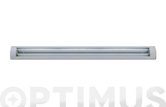 Luminaria fluorescente amaltea aluminio 2 x 18w