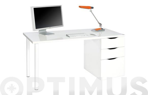 Mesa ordenador reversible blanca 74x138x60 cm