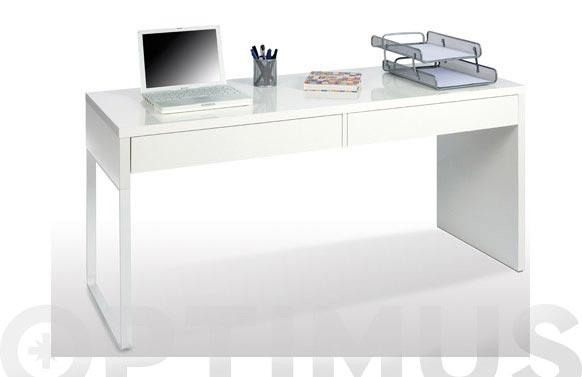 Mesa ordenador reversible blanco 75x138x50 cm