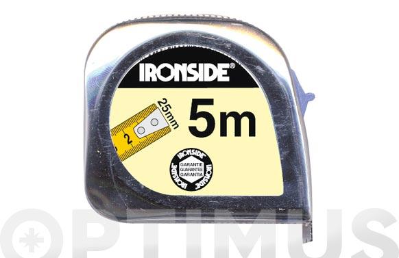 Flexometro abs/cromo con freno 5 m x 25 mm