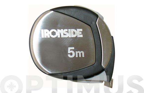 Flexometro acero cromado y goma con freno 3 m x 19 mm cinta impresa a dos caras