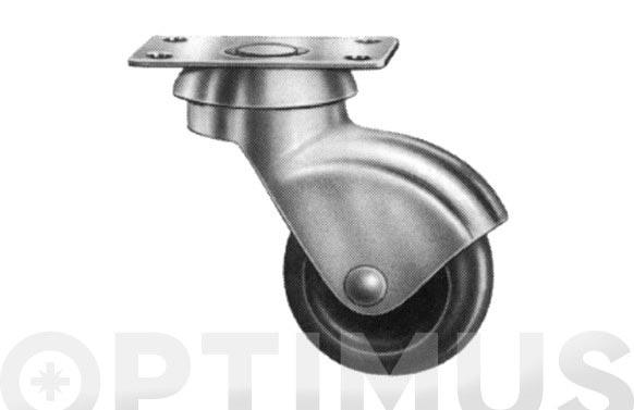 Rueda mueble auxiliar giratoria plastico pletina 50x33 ø 25 mm
