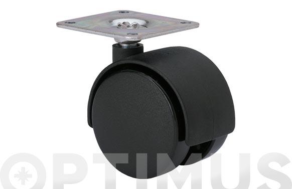 Rueda mueble auxiliar giratoria pletina 50x50 ø 50 mm