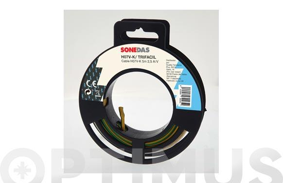 Cable unipolar flexible 10 mt amarillo/verde 1x1,5