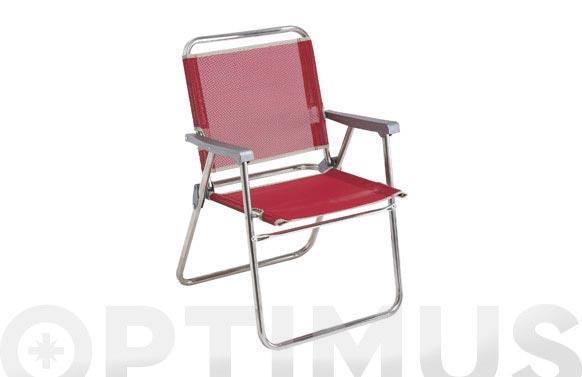 Sillon fijo aluminio playa fibreline rojo
