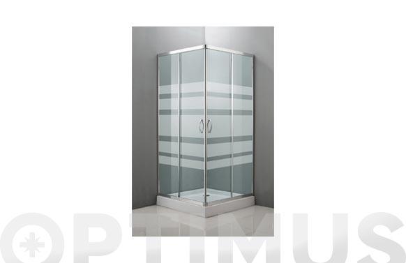Mampara angular cristal serigrafiado cromo 80 x 80 x 185 cm