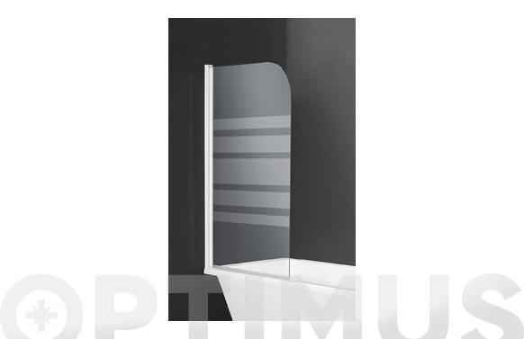 Mampara bañera 1 hoja cristal serigrafiado blanco 76 x 130 cm