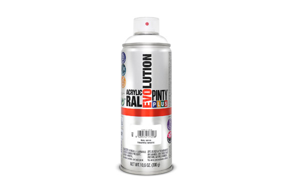 Pintura spray acrilica brillo 520 cc ral 9016 blanco