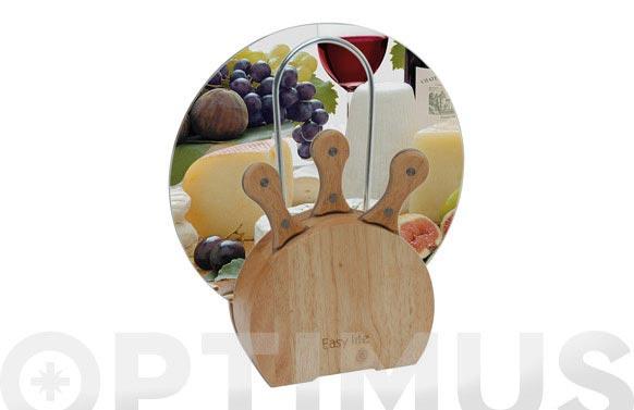 Taco madera con 3 cuchillos queso y plato de servir