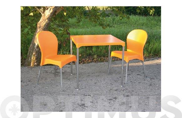 Mesa ermes naranja 75 x 75 cm