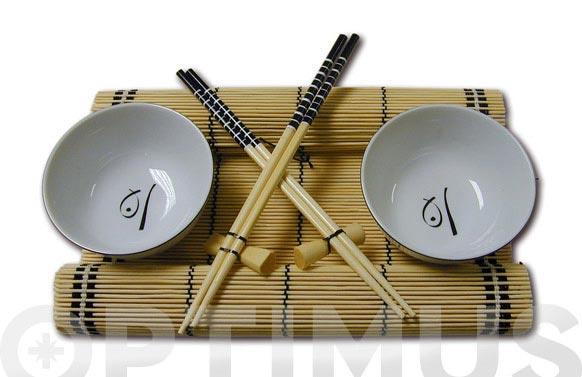 Bol + palillos + mantel para comida oriental 2 servicios
