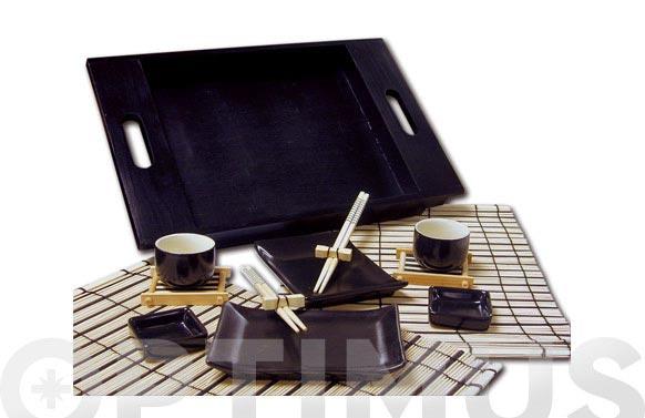 Servicio comida japonesa con bandeja set 2 servicios completos