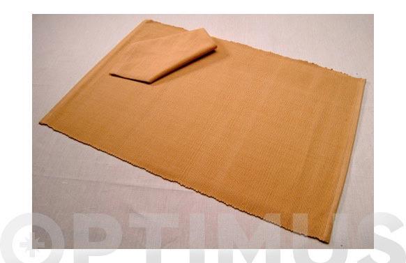 Mantel individual + servilleta beige oscuro set de 4 juegos