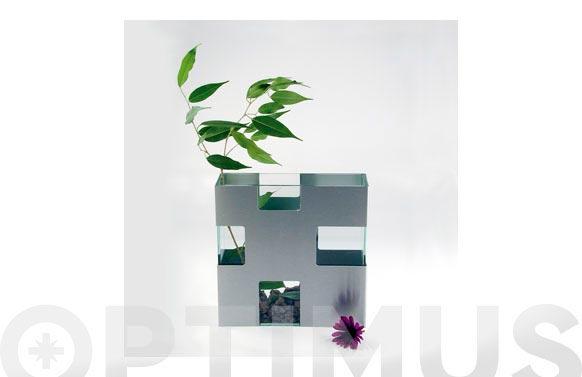 Florero vidrio-aluminio 10,5 x 10,5 x 28