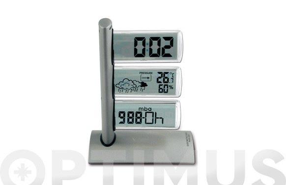 Estacion meteorologica + despertador 3 pantallas planas
