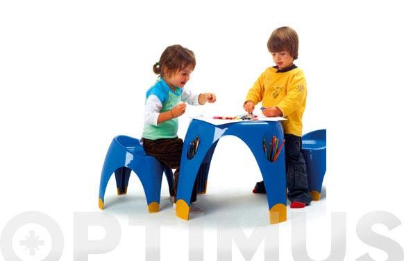 Mesa infantil+ 2 taburetes azul