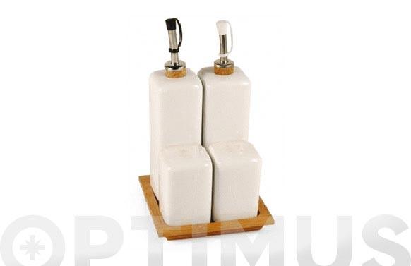 Aceiteras bambu / ceramica set