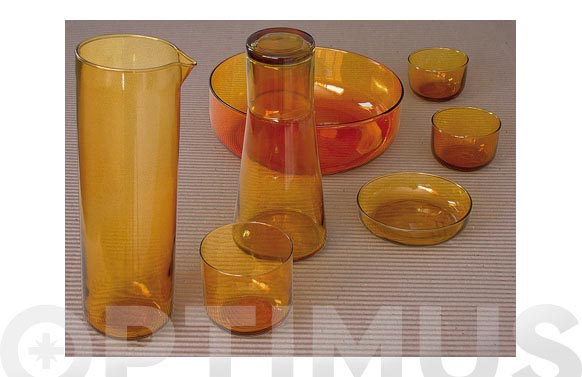 Vaso mediano vidrio naranja 6 uds