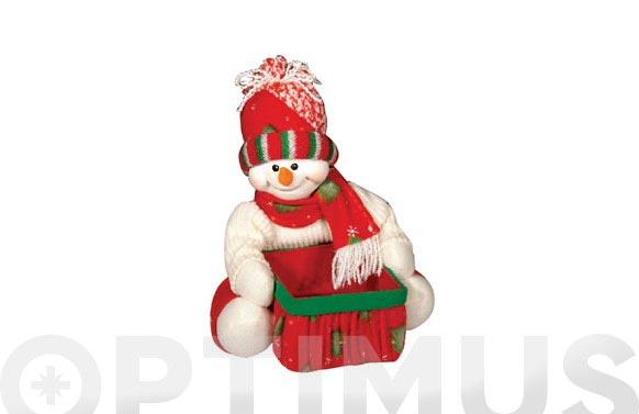 Muñeco nieve con cesto 24x20 cm