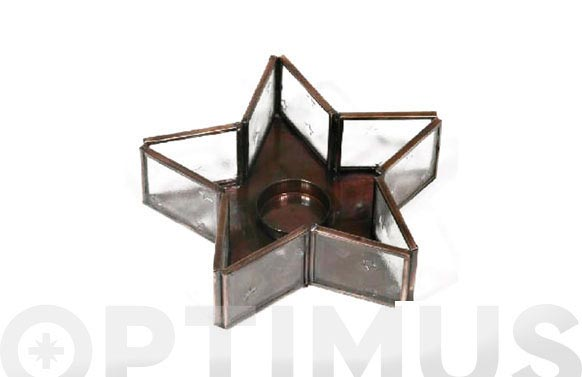 Estrella cristal portavelas transparente 17 cm