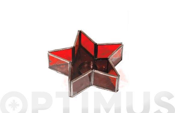 Estrella cristal portavelas roja 17 cm