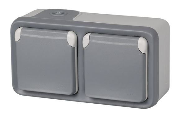 Base schuko superficie doble gris ip55 plexo