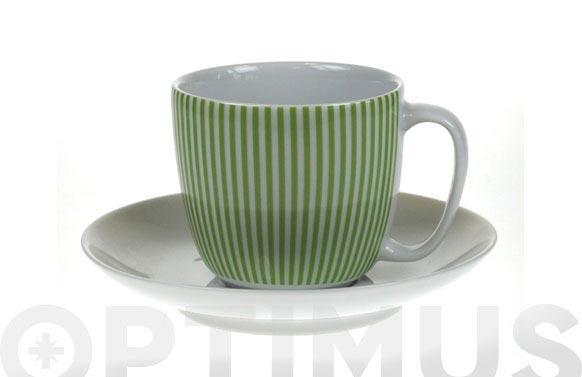 Taza te con plato line green 11529