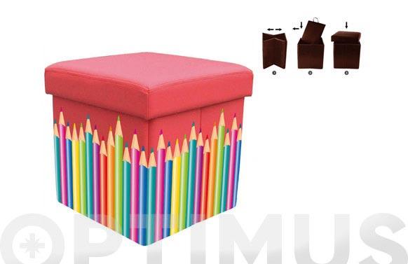 Puff plegable esencial 38x38x38 rojo lapiz