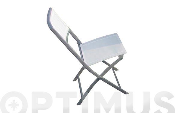 Silla hierro plegable plata/textilene blanco