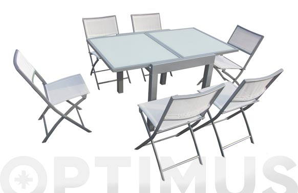 Mesa aluminio cristal extensible 70-140 x 70 cm