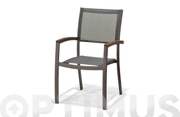 Sillon aluminio/textilene gris italica