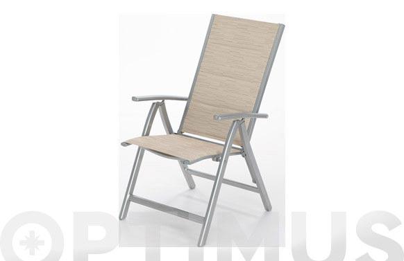 Sillon posiciones aluminio/textilene beige mistral