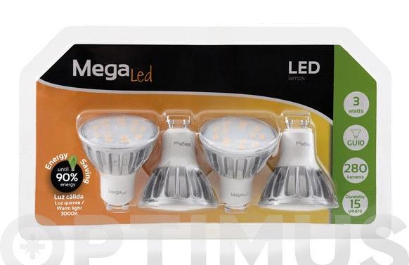Bombilla led dicroica alum 3w-280lm 4 unidades gu-10 luz calida (3000k)